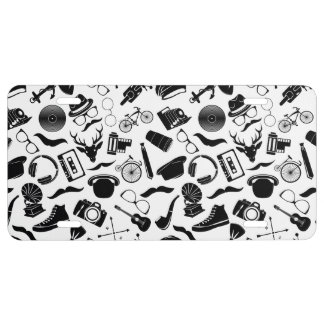 Black Pattern Hipster License Plate