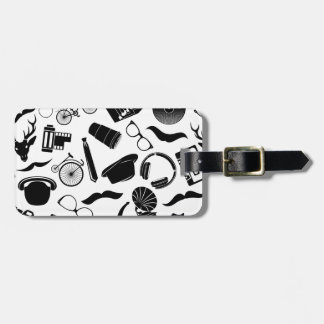 Black Pattern Hipster Luggage Tag