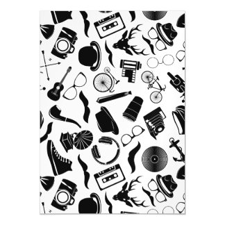 Black Pattern Hipster Magnetic Invitations