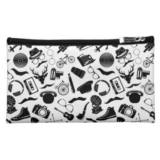 Black Pattern Hipster Makeup Bags