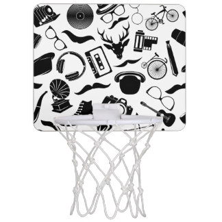 Black Pattern Hipster Mini Basketball Hoop