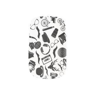 Black Pattern Hipster Minx Nail Art