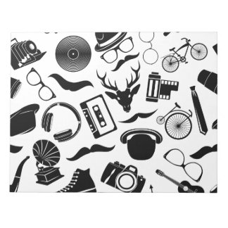 Black Pattern Hipster Notepad