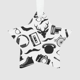 Black Pattern Hipster Ornament