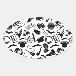 Black Pattern Hipster Oval Sticker