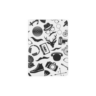 Black Pattern Hipster Passport Holder
