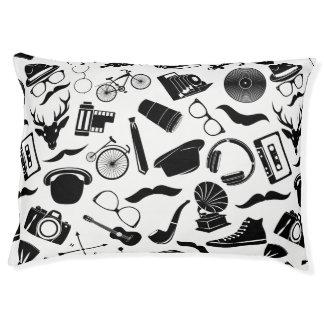 Black Pattern Hipster Pet Bed