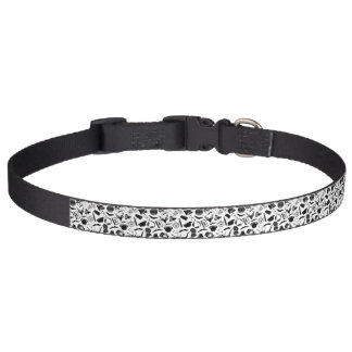 Black Pattern Hipster Pet Collar