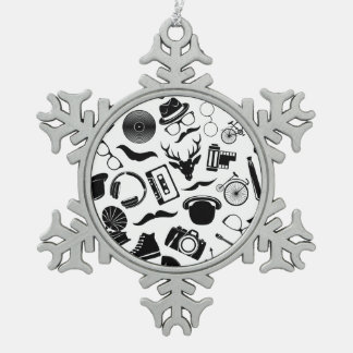 Black Pattern Hipster Pewter Snowflake Ornament