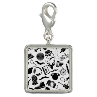 Black Pattern Hipster Photo Charms