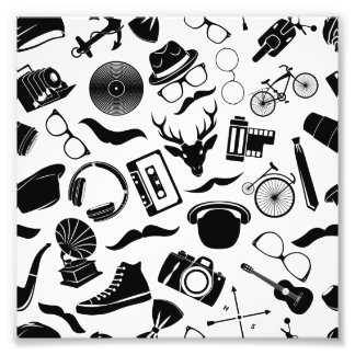Black Pattern Hipster Photographic Print
