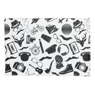 Black Pattern Hipster Pillowcase