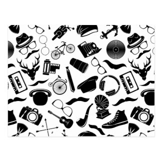 Black Pattern Hipster Postcard