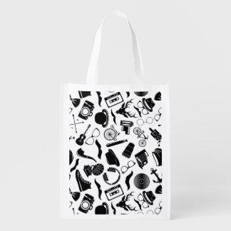 Black Pattern Hipster Reusable Grocery Bag