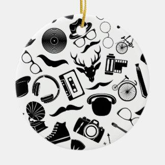 Black Pattern Hipster Round Ceramic Ornament