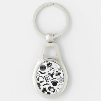 Black Pattern Hipster Silver-Colored Oval Keychain