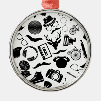 Black Pattern Hipster Silver-Colored Round Ornament