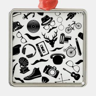 Black Pattern Hipster Silver-Colored Square Ornament