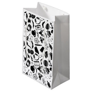 Black Pattern Hipster Small Gift Bag