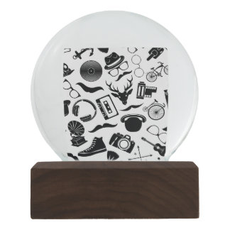 Black Pattern Hipster Snow Globe