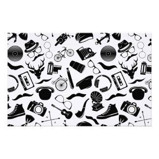 Black Pattern Hipster Stationery