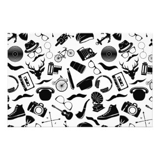 Black Pattern Hipster Stationery