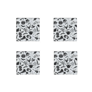 Black Pattern Hipster Stone Magnets