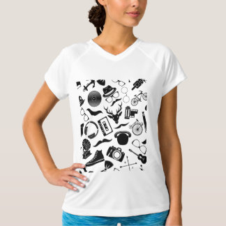 Black Pattern Hipster T-Shirt