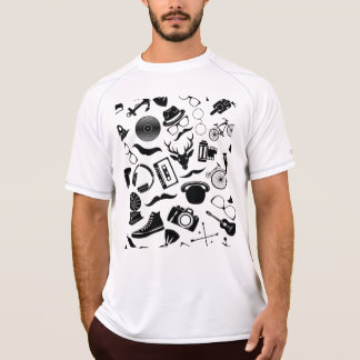 Black Pattern Hipster T-Shirt