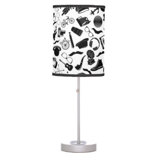 Black Pattern Hipster Table Lamp