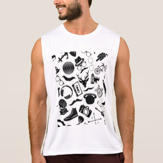 Black Pattern Hipster Tank Top