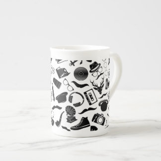 Black Pattern Hipster Tea Cup