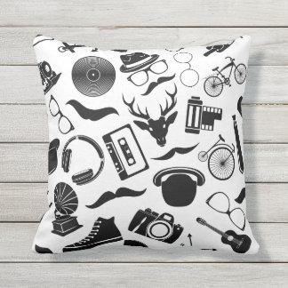 Black Pattern Hipster Throw Pillow