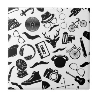 Black Pattern Hipster Tile