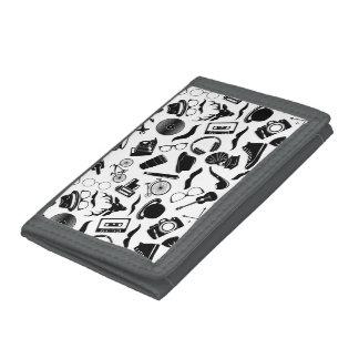 Black Pattern Hipster Tri-fold Wallet