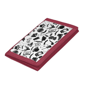 Black Pattern Hipster Trifold Wallets