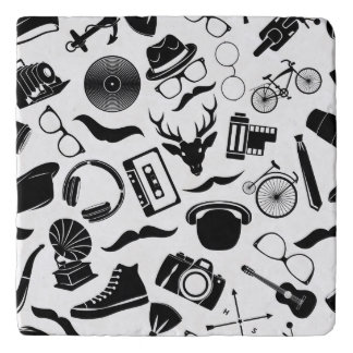 Black Pattern Hipster Trivet