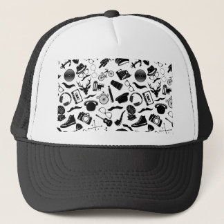Black Pattern Hipster Trucker Hat