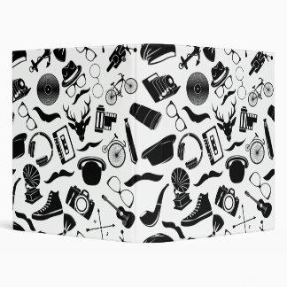 Black Pattern Hipster Vinyl Binders