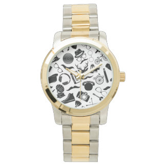 Black Pattern Hipster Watch