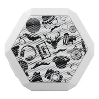 Black Pattern Hipster White Bluetooth Speaker