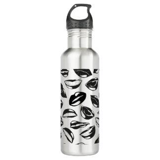 Black Pattern Lips 710 Ml Water Bottle