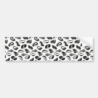 Black Pattern Lips Bumper Sticker