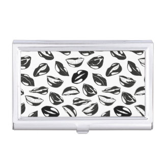 Black Pattern Lips Business Card Cases