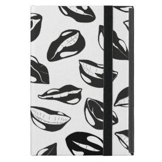 Black Pattern Lips Cases For iPad Mini