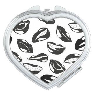 Black Pattern Lips Compact Mirrors