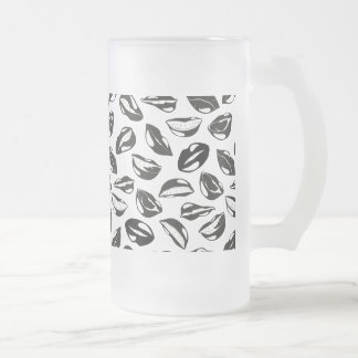 Black Pattern Lips Frosted Glass Beer Mug