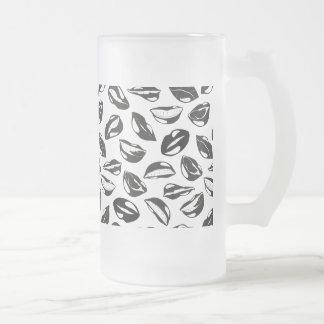 Black Pattern Lips Frosted Glass Beer Mug