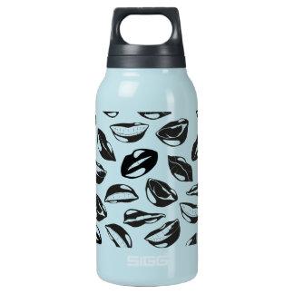Black Pattern Lips Insulated Water Bottle