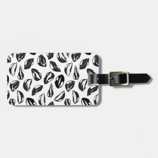 Black Pattern Lips Luggage Tag